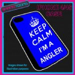 FITS IPHONE 4 / 4S PHONE KEEP CALM IM A  ANGLER PLASTIC COVER COOL GIFT BLUE